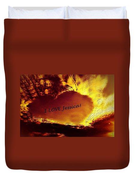 I Love Jessica Heart Duvet Cover