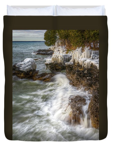 Ice And Waves Duvet Cover