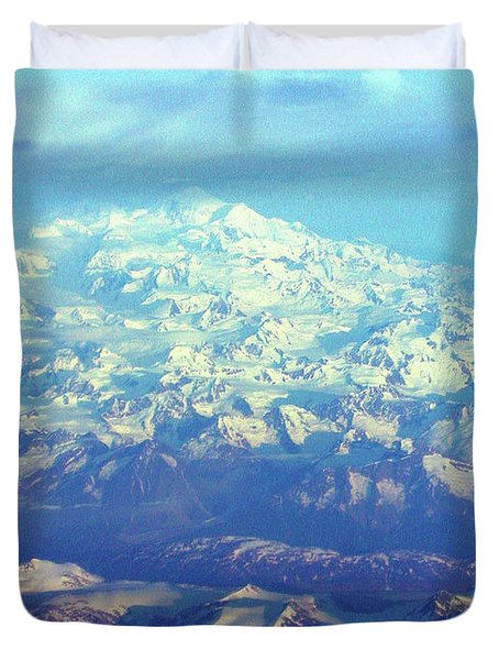 Ice Covered Mountain Top Duvet Cover