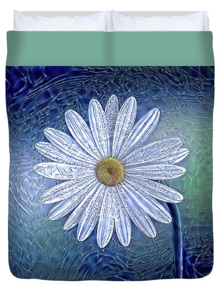 Ice Daisy Flower Duvet Cover