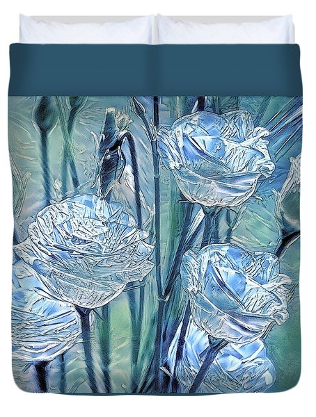Ice Lisianthus Duvet Cover