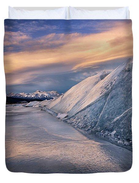 Ice Sheets On Abraham Lake Duvet Cover