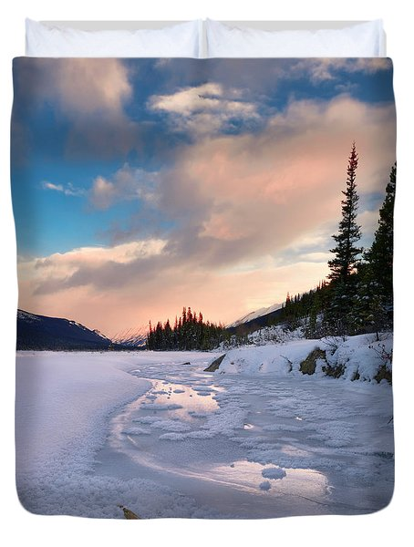 Icefields Parkway Winter Morning Duvet Cover