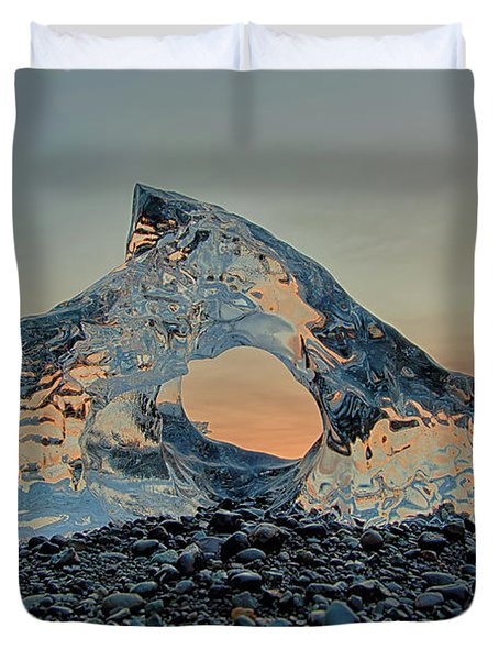 Iceland Diamond Beach Abstract  Ice Duvet Cover