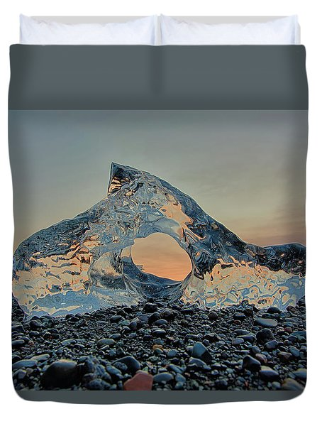 Duvet Cover featuring the photograph Iceland Diamond Beach Abstract  Ice by Nathan Bush