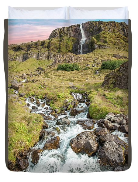 Iceland Waterfall Duvet Cover