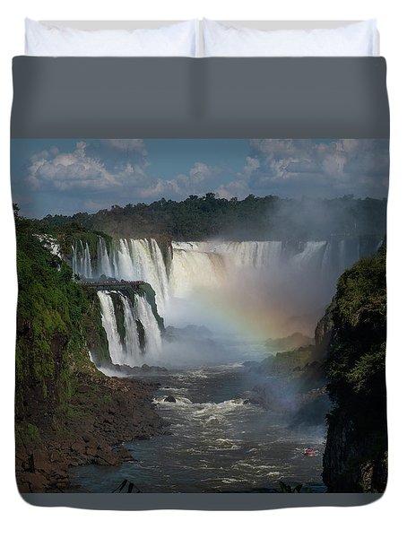 Iguazu Falls With A Rainbow Duvet Cover