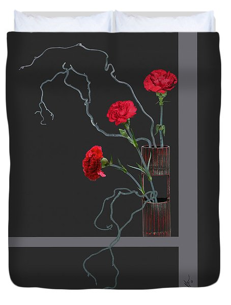 Red Carnations And Bamboo Vase Duvet Cover