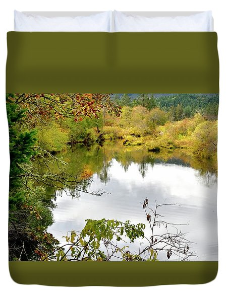 Duvet Cover featuring the photograph Illinois River Fall Color by Jerry Sodorff