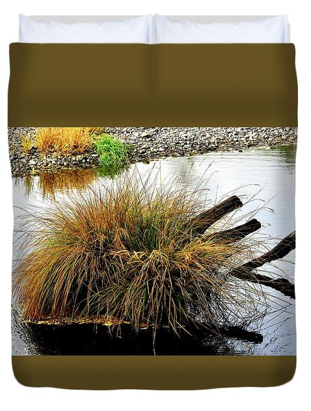 Duvet Cover featuring the photograph Illinois River Reflection by Jerry Sodorff