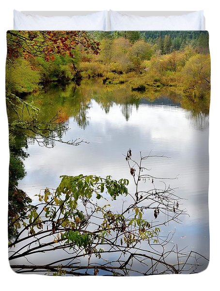 Duvet Cover featuring the photograph Illinois River Sky Reflection by Jerry Sodorff