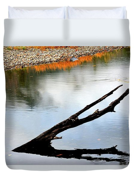 Duvet Cover featuring the photograph Illinois River Stump by Jerry Sodorff