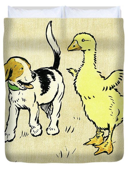 Illustration Of Puppy And Gosling Duvet Cover