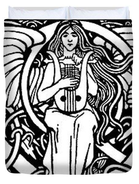 Illustration Of Woman Playing Lyre Duvet Cover