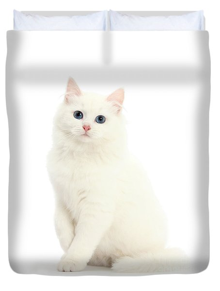 Duvet Cover featuring the photograph I'm All White by Warren Photographic