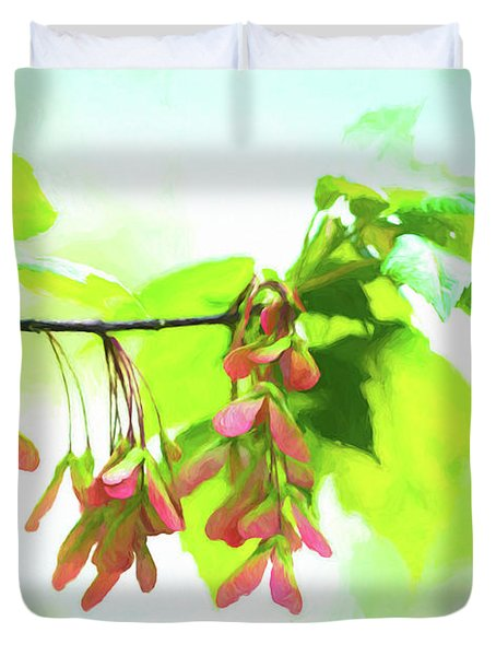 Impressionistic Maple Seeds And Foliage Duvet Cover