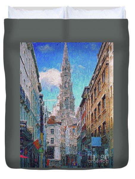 In-spired  Street Scene Brussels Duvet Cover