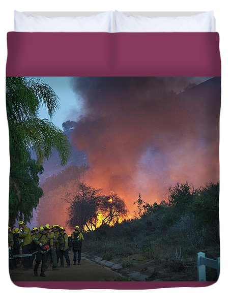 Duvet Cover featuring the photograph In The Line Of Duty by Lynn Bauer