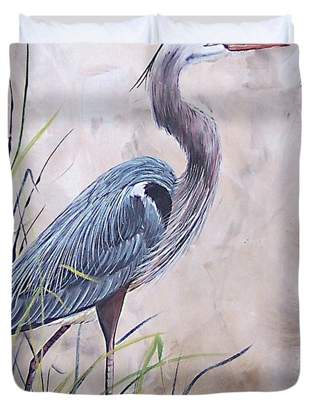 In The Reeds Blue Heron-36x48 Duvet Cover