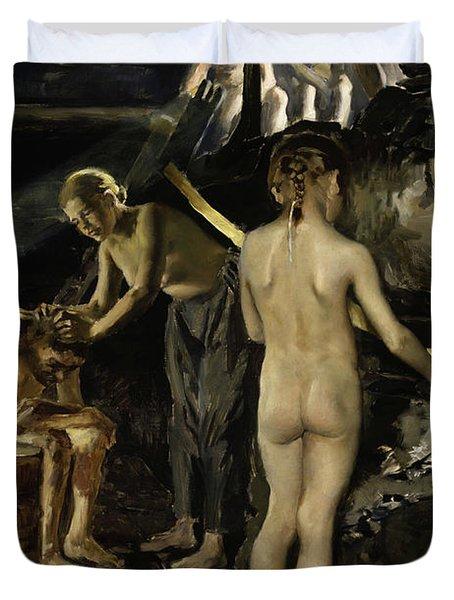 In The Sauna, 1889 Duvet Cover