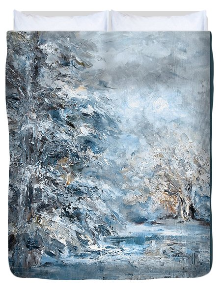 In The Snowy Silence Duvet Cover