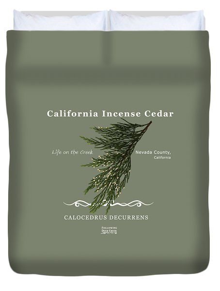 Incense Cedar - White Text Duvet Cover