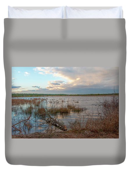 Duvet Cover featuring the photograph Incoming In The New Jersey Pine Barrens by Kristia Adams
