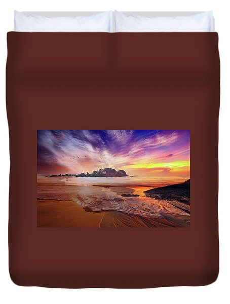 Incoming Tide At Sunset Duvet Cover