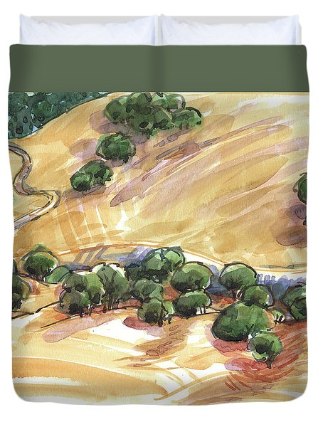 Duvet Cover featuring the painting Indian Creek Valley From Shell Ridge by Judith Kunzle