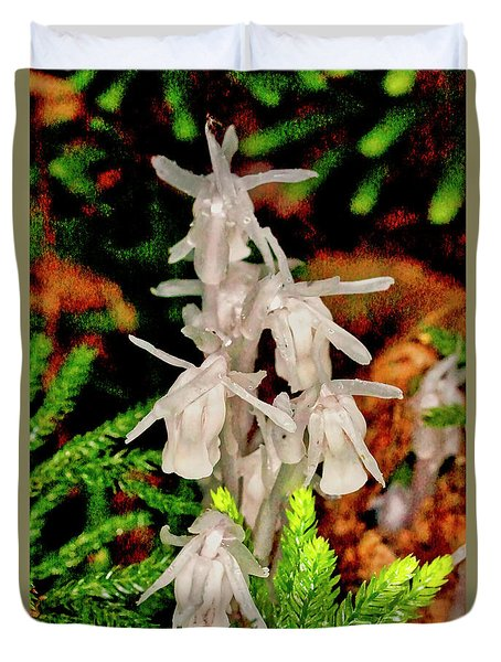 Indian Pipes On Club Moss Duvet Cover