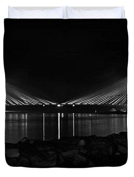 Duvet Cover featuring the photograph Indian River Bridge After Dark In Black And White by Bill Swartwout Fine Art Photography