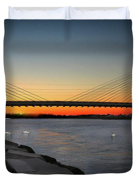 Duvet Cover featuring the photograph Indian River Bridge Over Swan Lake by Bill Swartwout Fine Art Photography
