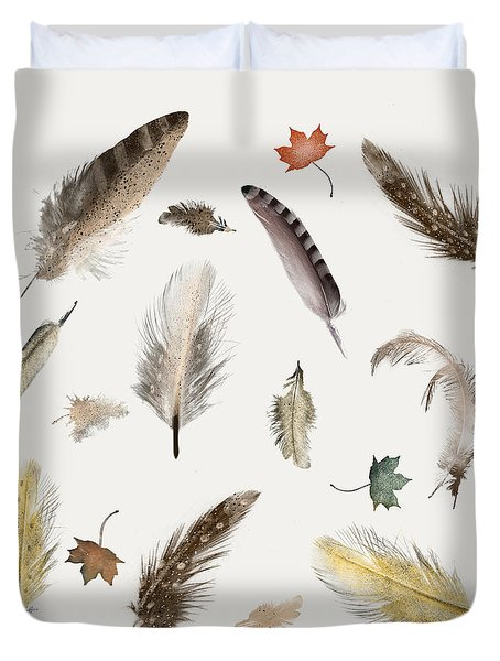 Inner Nature Feathers And Leaves Duvet Cover