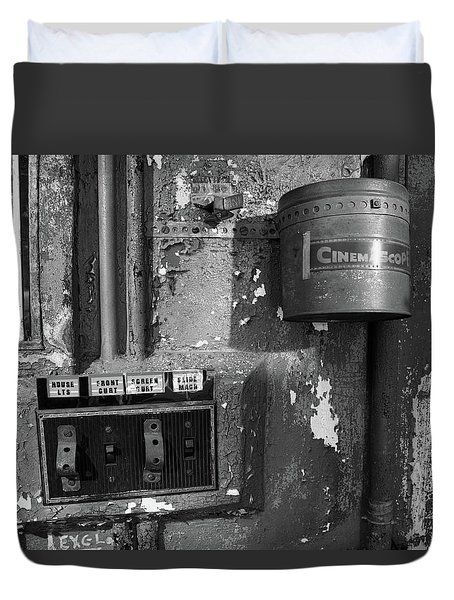 Duvet Cover featuring the photograph Inside The Projection Room - Bw by Kristia Adams