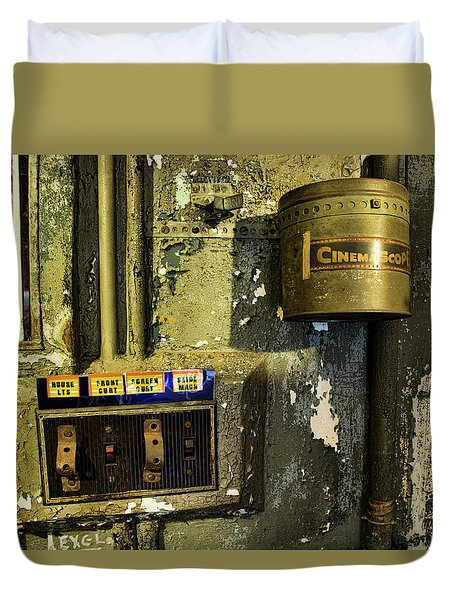 Duvet Cover featuring the photograph Inside The Projector Room by Kristia Adams