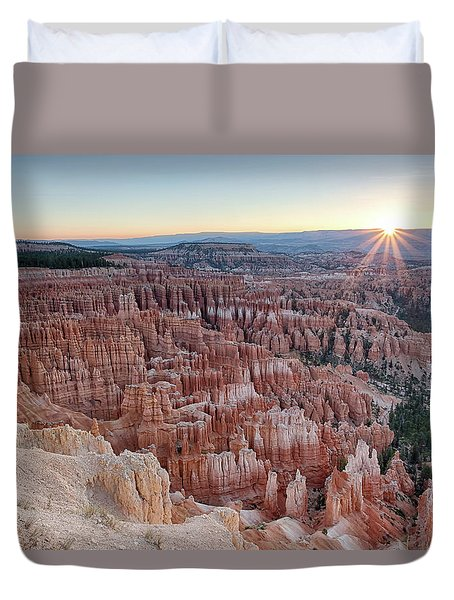 Inspiration Point Sunrise Bryce Canyon National Park Summer Solstice Duvet Cover