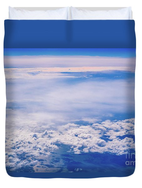 Intense Blue Sky With White Clouds And Plane Crossing It, Seen From Above In Another Plane. Duvet Cover
