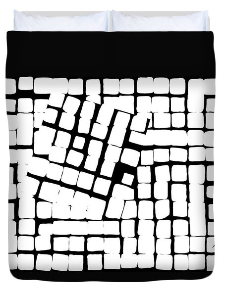 Duvet Cover featuring the digital art Internal Square by Attila Meszlenyi