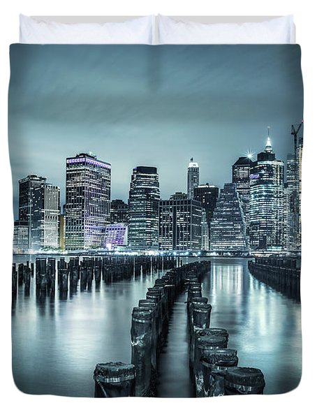 Into The Blue Night Duvet Cover