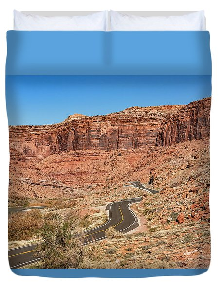 Duvet Cover featuring the photograph Into The Red Cliffs by Andy Crawford