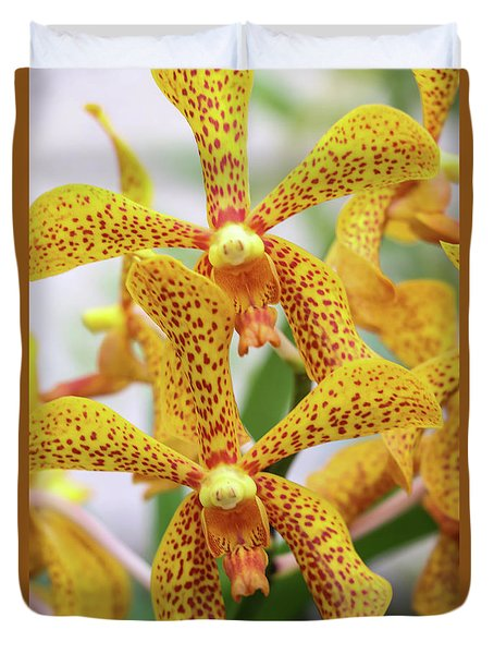Intriguing Yellow Spider Orchids Duvet Cover