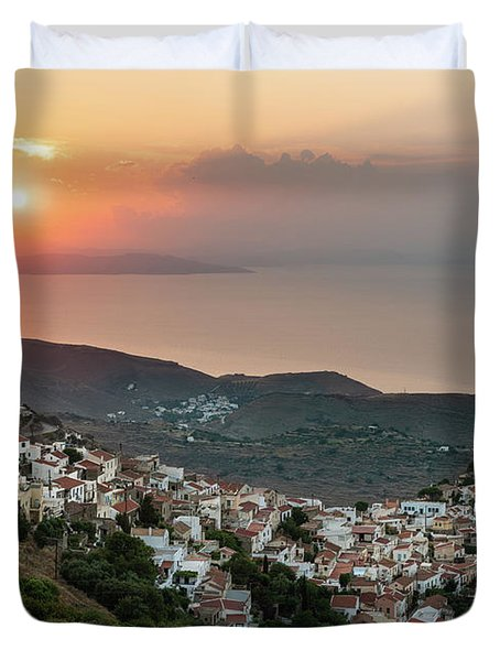 Ioulis Town Sunset, Kea Duvet Cover