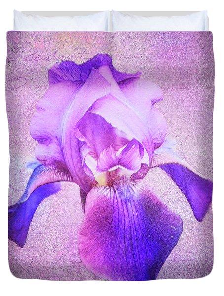 Pretty In Purple Iris Duvet Cover