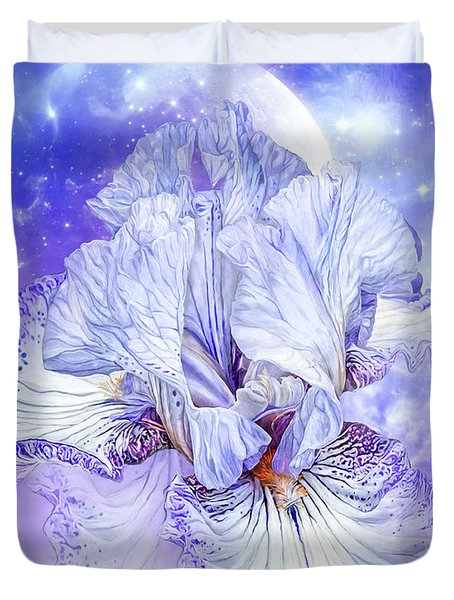 Duvet Cover featuring the mixed media Iris - Goddess Of Dreams by Carol Cavalaris
