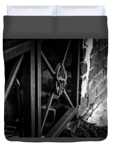 Duvet Cover featuring the photograph Iron Gate In Bw by Doug Camara