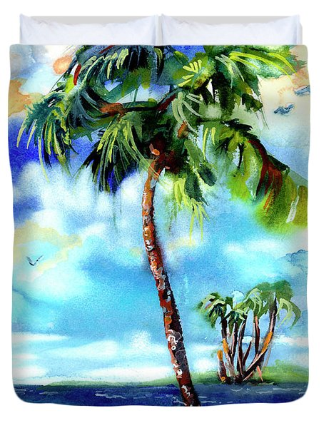 Island Solitude Palm Tree And Sunny Beach Duvet Cover