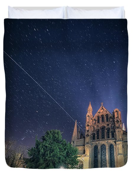 Iss Over Ely Cathedral Duvet Cover