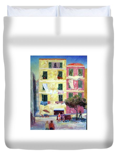Italian Piazza With Laundry Duvet Cover
