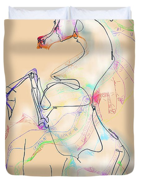 Ivory Horse Rising Duvet Cover