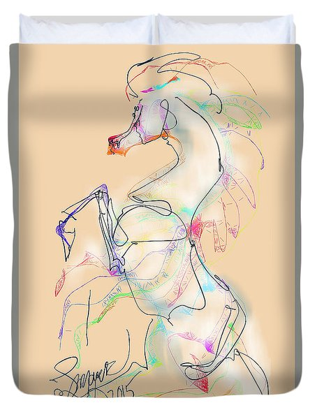 Duvet Cover featuring the digital art Ivory Horse Rising by Stacey Mayer